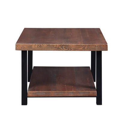 Mid Century Square Solid Wood Coffee Table with Storage Shelf Large End Table