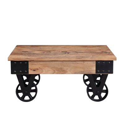 Industrial Rectangle Solid Wood Coffee Table with Wheels