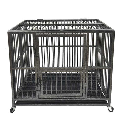Large Dog Cage with Tray Wheels Heavy Duty Kennel Cat Crate - 3 Size
