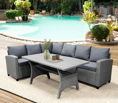 Patio Dining Table Set Outdoor Furniture PE Rattan Wicker Conversation Set Sectional Sofa Set