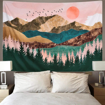 Sunset Wall Tapestry Forest Tree Tapestry Mountain Wall Hanging Psychedelic Nature Landscape Tapestry Home Decoration for Bedroom Living Room
