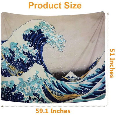 Japanese Kanagawa Ocean Great Wave Nature Tapestry Wall Hanging Home Aesthetic Decor