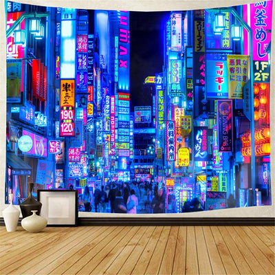 Purple Tokyo Alleys Tapestry Wall Tapestry Home Decoration for Bedroom Living Room