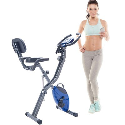 10-Level Exercise Bike Folding Fitness Upright X-Bike Adjustable Resistance