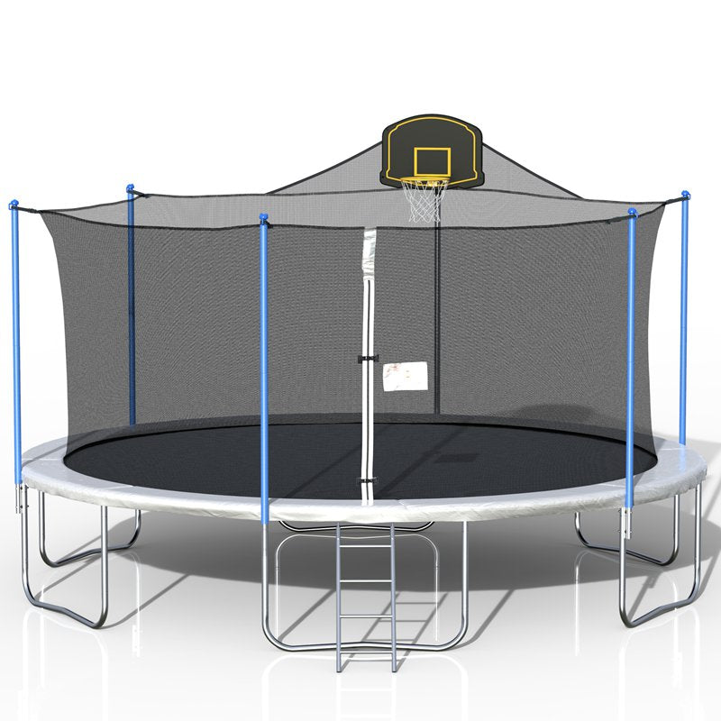 16 FT Family Basketball Trampoline with Safety Net