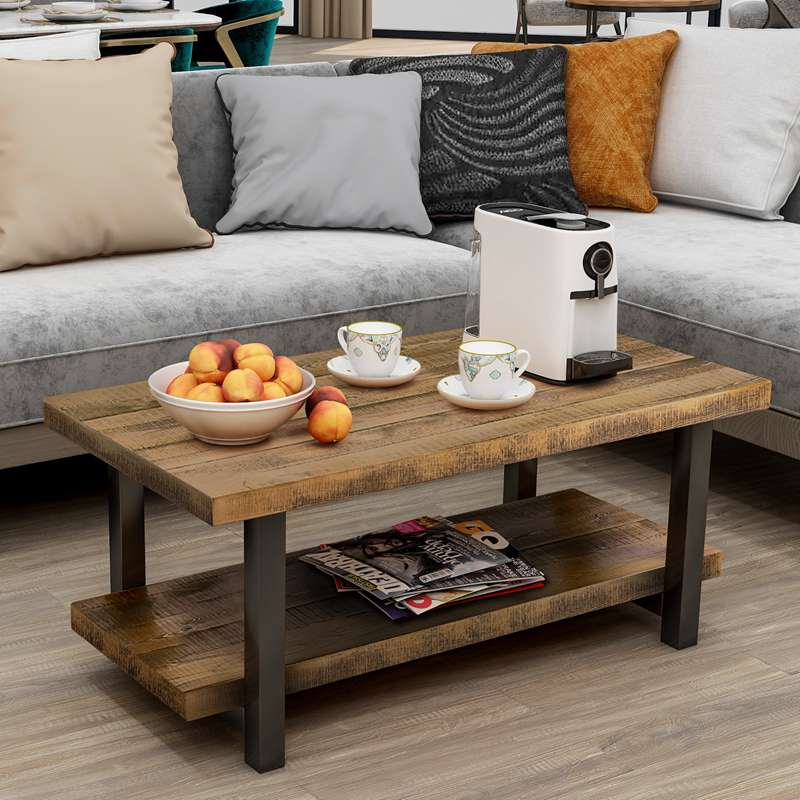 Rustic Rectangle Wood Coffee Table with Storage Shelf