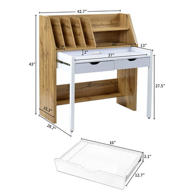 Versatile Home Office Desk Rolling Computer Table With with Storage Shelves