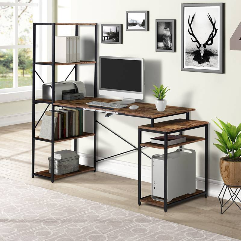 Home Office Computer Desk with 5-tier Bookshelf and 2 Open Storage Shelf Multi-function Drafting Drawing Table