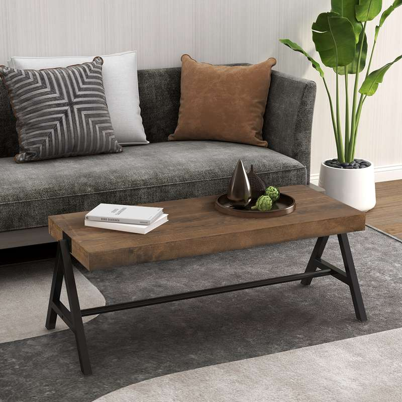 Rustic Rectangle Wood Narrow Coffee Table for Living Room