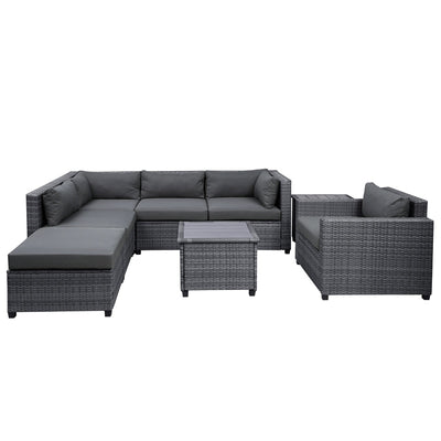 8 Pcs Garden Funiture Wicker Patio Sofa Set Outdoor Sectional Seating Group