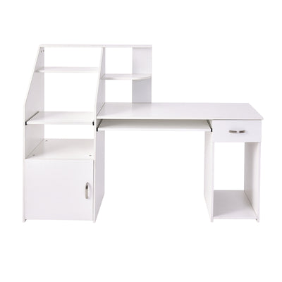 Home Office Computer Desk with Drawer Keyboard Bookshelves Cabinet Storage