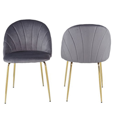Modern Velvet Dining Chairs with Iron Tube Golden Legs and Cushions Set of 2