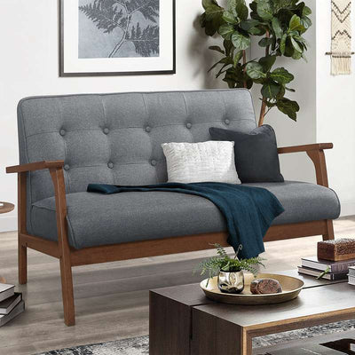 Modern Fabric Love Seat Sofa 2 Seater Couch