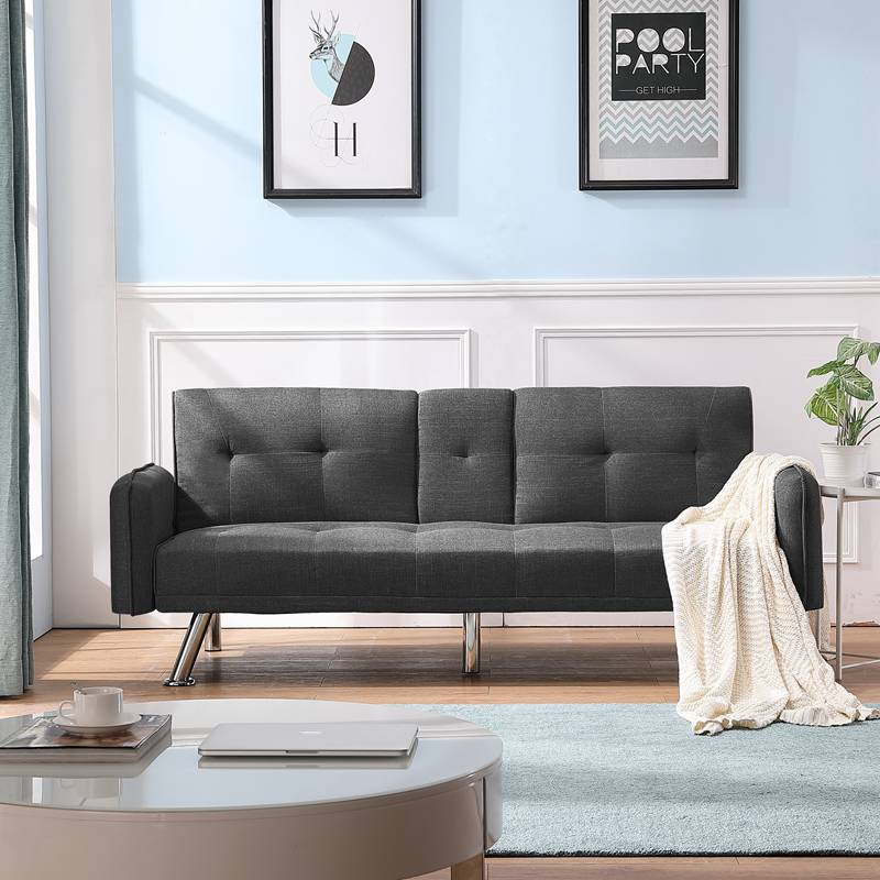 Futon Bed Sleeper Sofa Couch with a Drop Down Middle Back with 2 Cup Holders Twin Sofa Bed