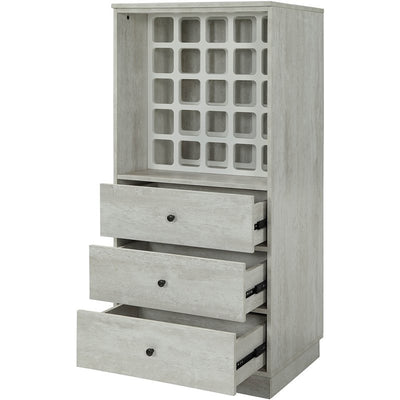 Rustic White Wooden Wine Rack Cabinet with 3 Drawers Storage