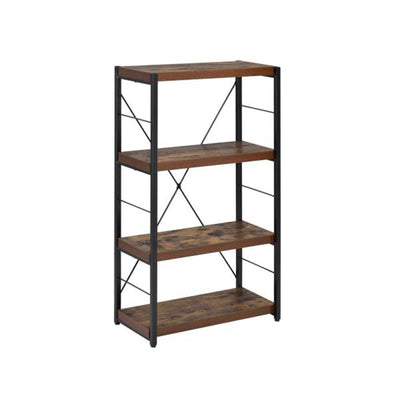 Classic 4 Shelves Wood Bookcase Industrial Storage Cabinet