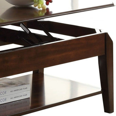 Rectangle Lift Top Coffee Table with Storage Shelf