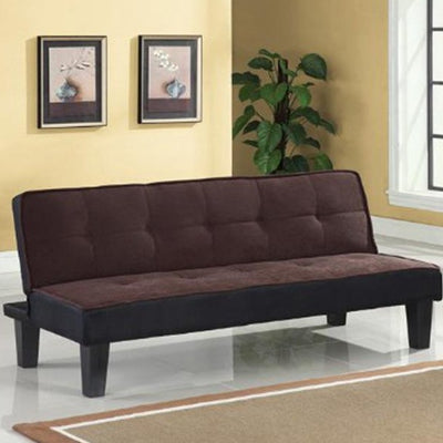Chocolate Flannel Fabric Convertible Sofa with Wooden Frame