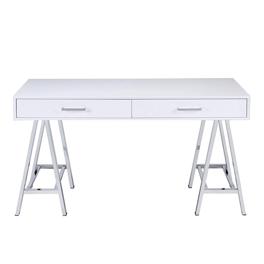 White Rectangle Office Desk Computer Makeup Table with 2 Drawers