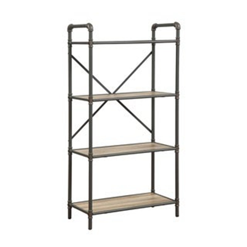 Industrial 4 Tiers Antique Oak Gray Bookshelf with 4 Shelves