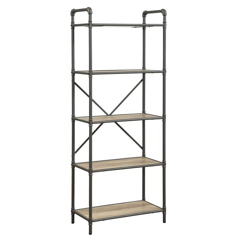 Industrial 5 Tiers Antique Oak Gray Bookshelf with 5 Shelves