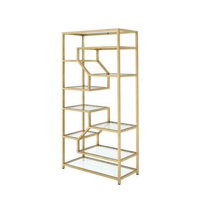 Multi-Shelf Tiered Glass Open Bookcase