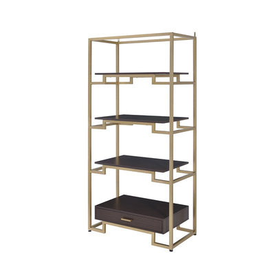 Stylish Bookcase with 3 Fixed Shelves and 1 Drawer