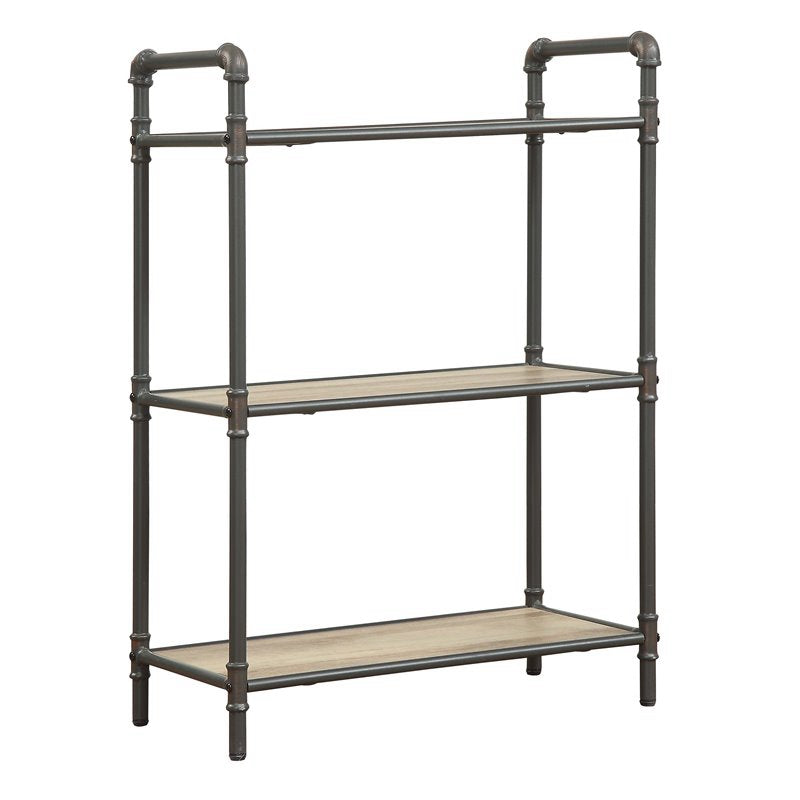 Industrial Antique Oak Gray Bookshelf with 3 Shelves