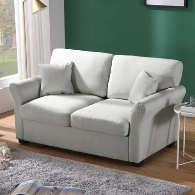 Linen Fabric Loveseat Sofa Living Room Seater Couch with 2 Pillows