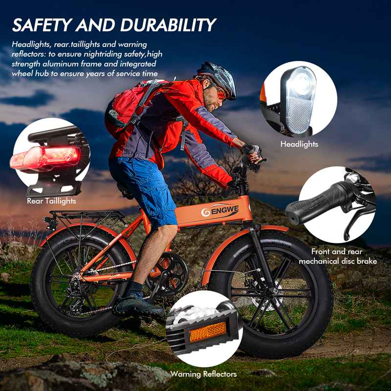 ENGWE EP-2 Fat Tire Electric Bicycle 500W 20 inch Foldable Mountain Bikes Aluminum Electric Scooter 7 Speed Gear E-Bike with Removable 48V12.5A Lithium Battery