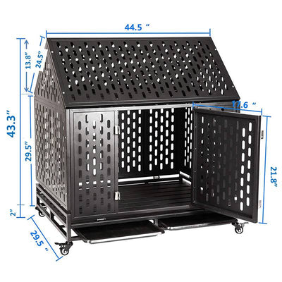Heavy Duty Dog Crate Cage Kennel Move with Four Wheels