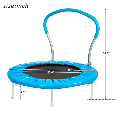 Blue 36 Inch Round Folding Trampoline Mini Rebounder with Handlebar