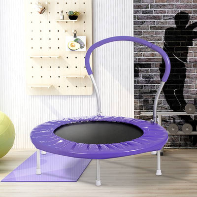 Purple 36 Inch Round Folding Trampoline Mini Rebounder with Handlebar