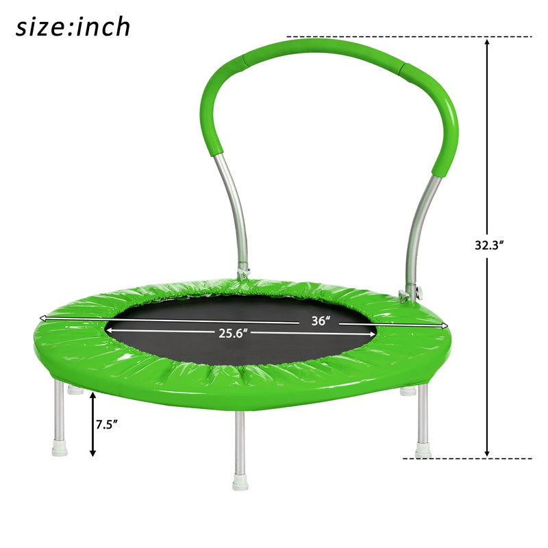 Green 36 Inch Round Folding Trampoline Mini Rebounder with Handlebar