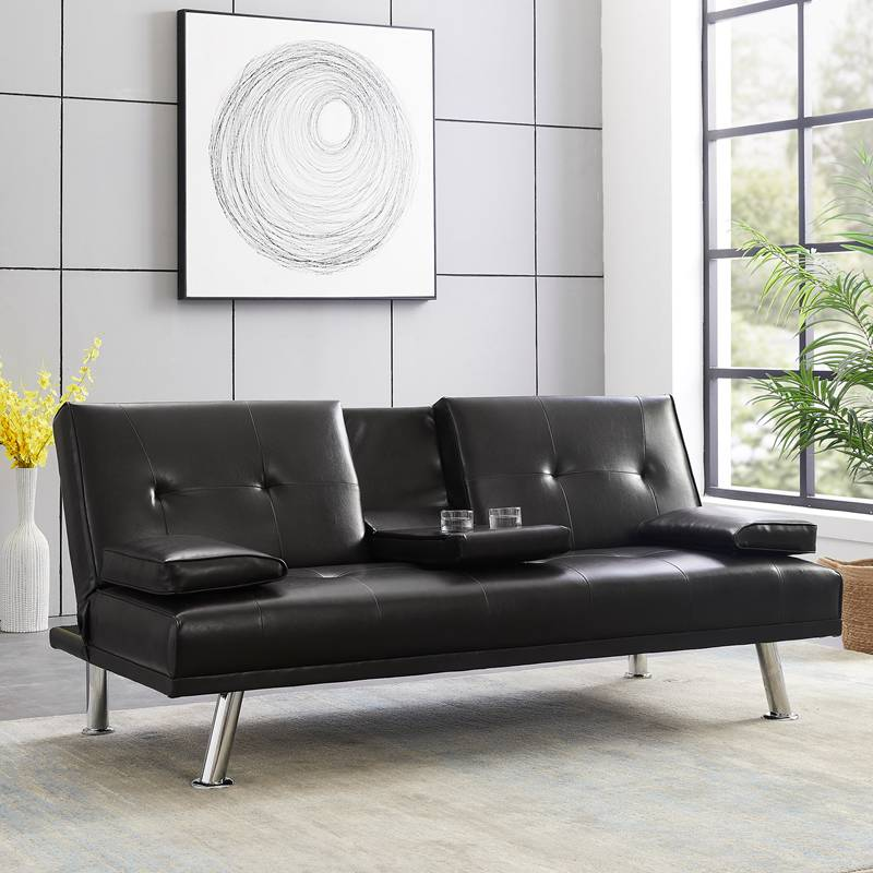 Modern Faux Leather Futon Bed Sofa Bed Recliner Couch Convertible Futon with 2 Cup Holders