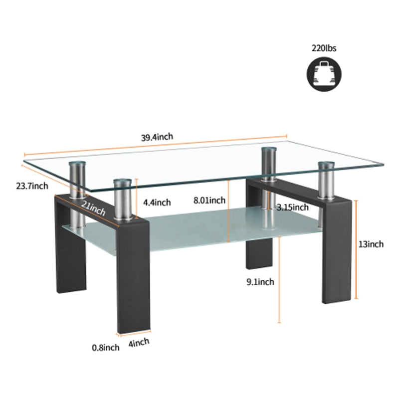 Rectangle Glass Coffee Table, Clear Coffee Table, Modern Side Center Tables for Living Room, Living Room Furniture