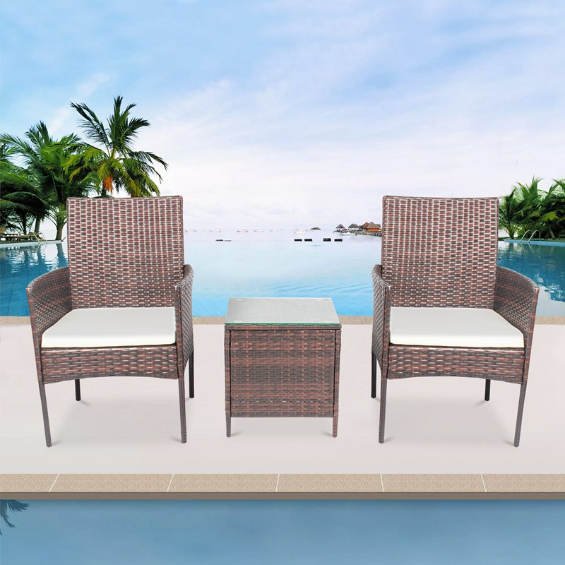 3 Pcs Modern Garden Pe Wicker Chair Courtyard Porch Furniture Sets