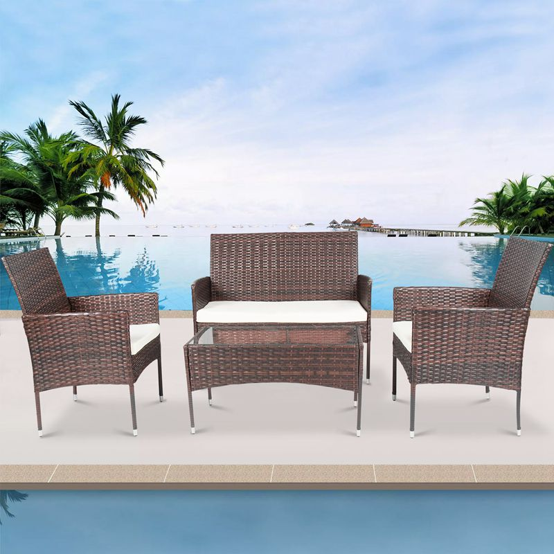4 Pcs Garden Furniture Sofa Sets Rattan Sectional Patio Wicker Conversation Lawn Outdoor Sofa Set