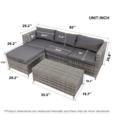 5 Pcs Outdoor Terrace Sofa Sets All-weather Pe Wicker Garden Furniture