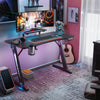 Z-shaped Gaming Desk PC Table with Monitor Stand Carbon Fiber Surface Rgb Lights Cup Holderheadphone Hook Plug Board Holder