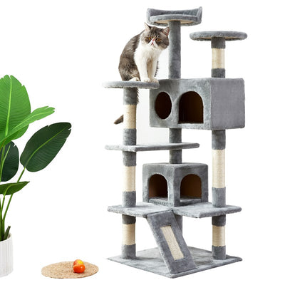 Green Cat Tree with Sisal Armrest Armrest Board Plush and Double Room Cat Tower Furniture Kitten Activity Center Cat Play House