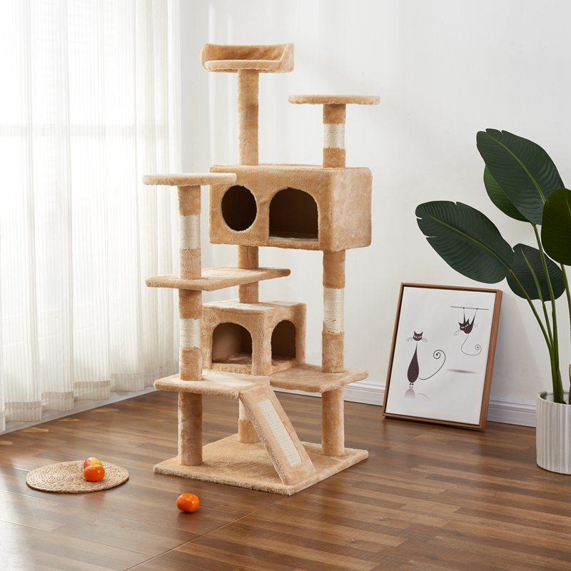 Multi-Level Cat Tree Cat Condo with Scratching Posts Kittens Activity Tower Pet Play House Furniture