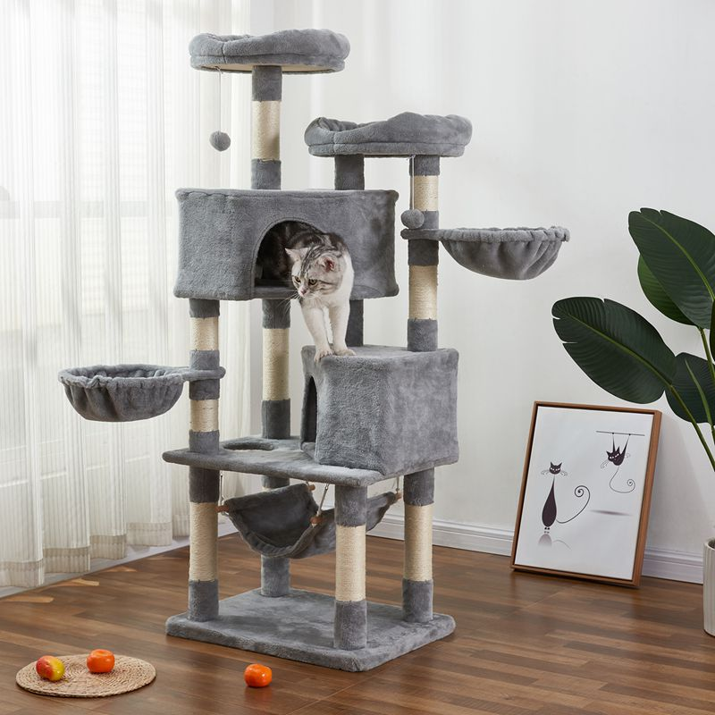 Light Gray Multi-level Cat Tree with Flexible Pole Covered with Sisal Plush Perch Cat Tower Furniture