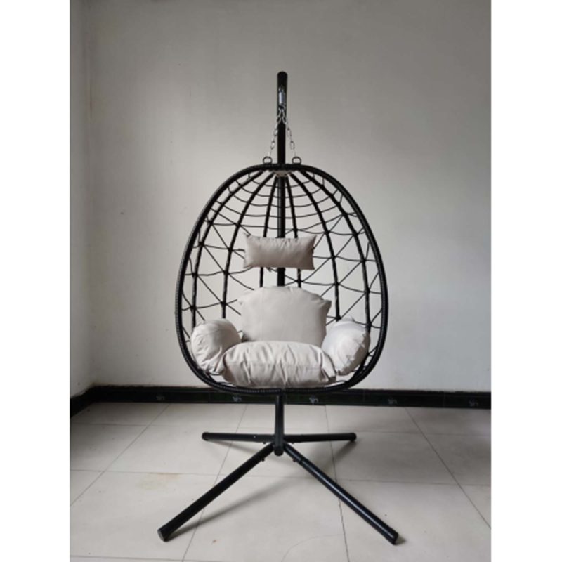 Swing Chair with Soft Cushion Round Garden Lawn Wicker Hanging Basket Chair