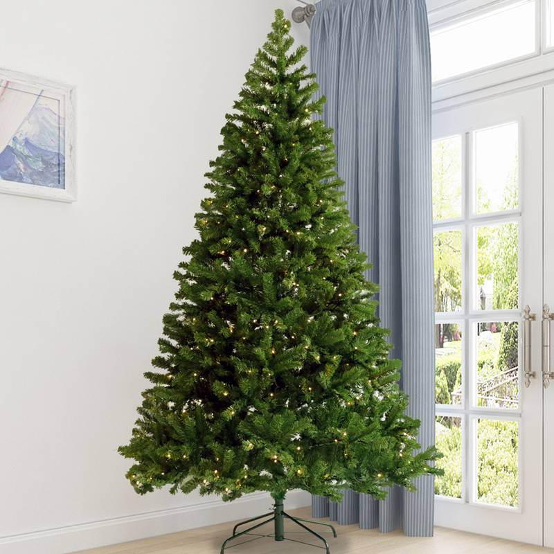 7.5FT Christmas Tree Artificial Hinged Xmas Tree with 400 Pre-strung Led Lights Foldable Stand