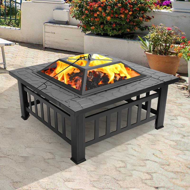 32-inch Outdoor Square Metal Firepit Faux-Stone Backyard Patio Garden Stove Wood Burning BBQ Fire Pit
