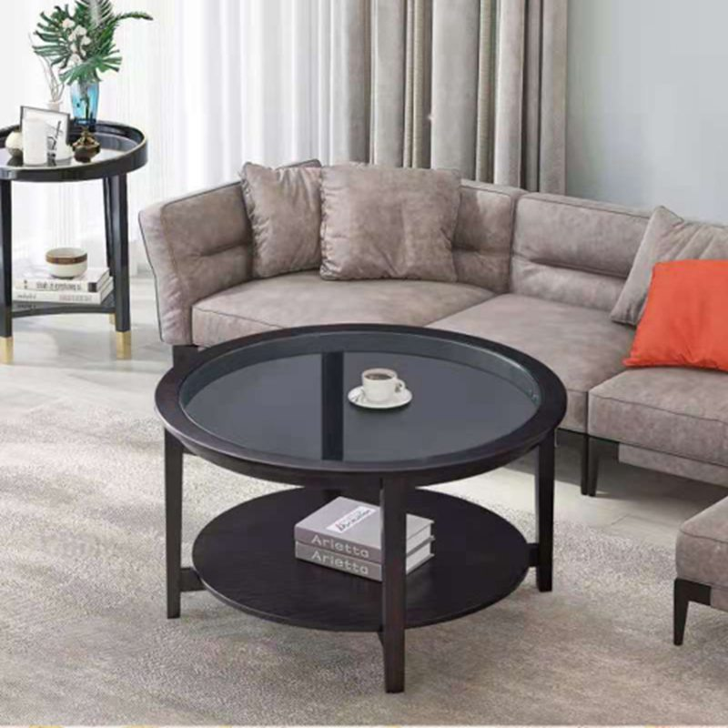 Modern Solid Wood Round Coffee Table with Tempered Glass Top
