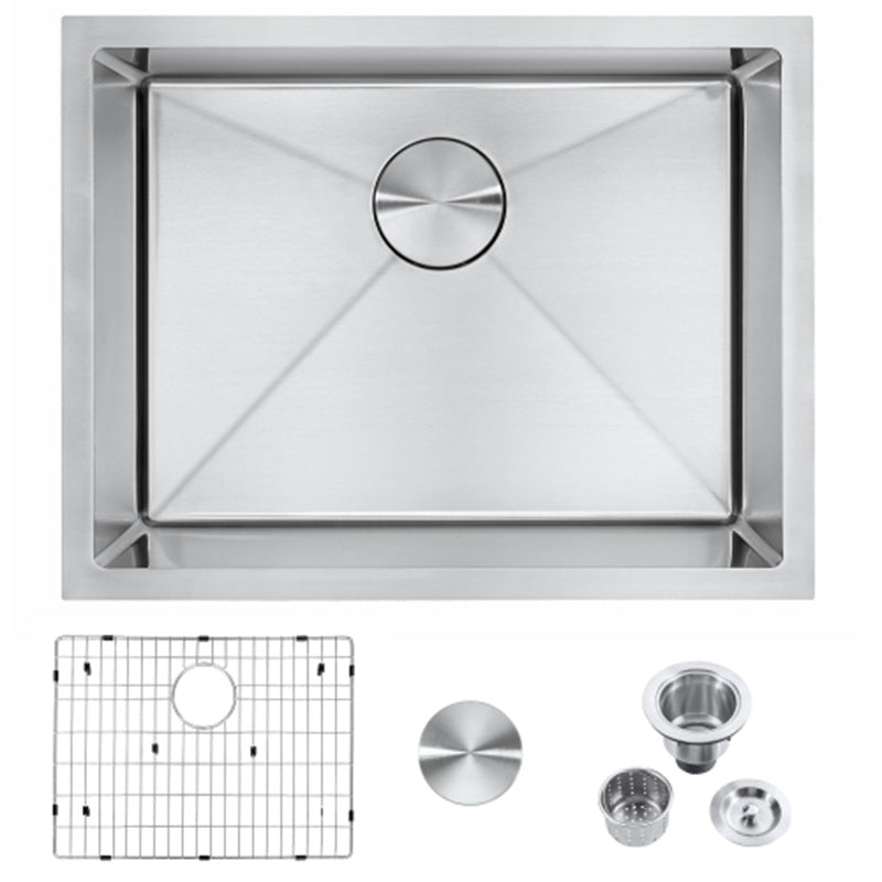 Famgizmo 23 inch Undermount Kitchen Sink-18 Gauge 304 Stainless Steel Single Bowl Handmade Deep Bar Prep Basin with Integrated Ledge 23''x18''x9''