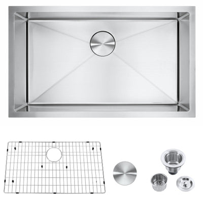 Famgizmo 30 inch Undermount Kitchen Sink-18 Gauge 304 Stainless Steel Single Bowl Handmade Deep Bar Prep Basin with Integrated Ledge 30''x18''x9''