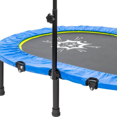 Parent-Child Twin Trampoline with Adjustable Handrail and Safety Cover, Mini Kids Trampoline for Two Kids